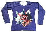 ticila Mujer Camiseta de manga larga Lila Stone Wash Mexican Rasta Mega Joint cáñamo mariu Jana Kiffer Peace Fasching morado 40/42
