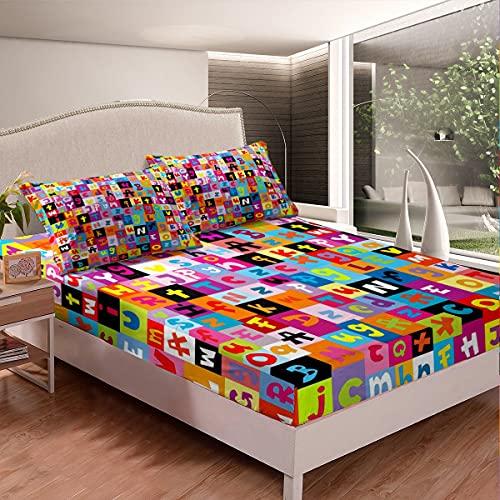 Juego de cama con letras de dibujos animados, sábana bajera ajustable para niños y adultos, juego de rompecabezas, juego de sábanas de colores, 3 piezas, con 2 fundas de almohada de tamaño doble