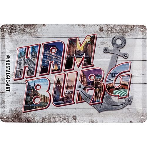 Nostalgic-Art Retro Blechschild Hamburg-Bilder-Buchstaben und Anker – Souvenir und Geschenk-Idee, aus Metall, Vintage-Design zur Dekoration, 20 x 30 cm