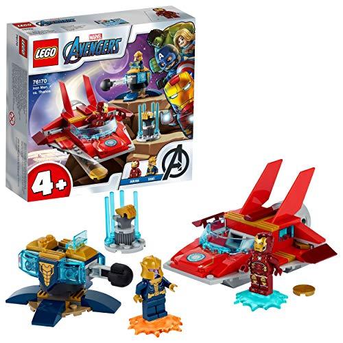 LEGO Super Heroes Marvel Avengers Iron Man vs. Thanos, Giocattoli per Bambini 4+ Anni con Jet e 2 Supereroi, 76170