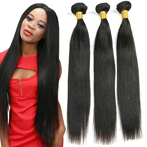 Ladiary capelli umani extension capelli veri tessitura 3 fasci di capelli umani lisci brasiliani extension capelli veri totale 300g 20 22 24 pollice