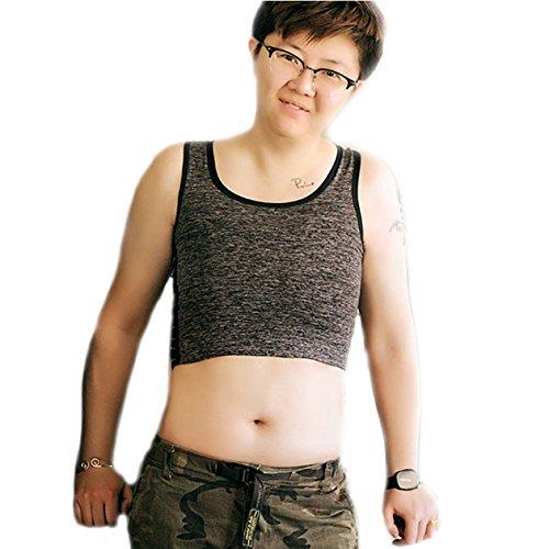 BaronHong Tomboy Trans Lesbian Cotton Chest Binder Plus Size Short Tank Top with 20 cm Stronger Elastic Band(Darkgray,5XL)