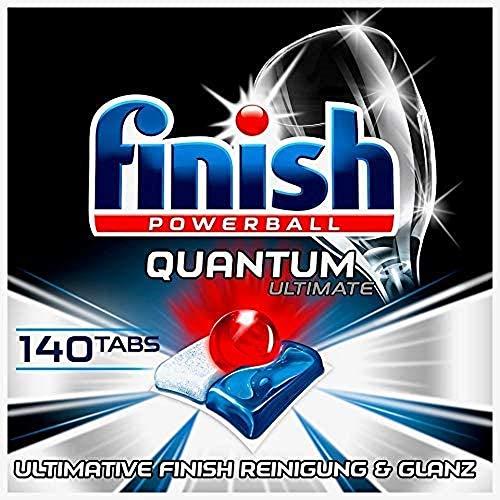 Finish Pastillas para lavavajillas Quantum Ultimate – Pastillas para lavavajillas sin fosfatos con triple efecto – Limpieza potente, desengrasante y brillo – Gigapack con 140 pastillas de acabado