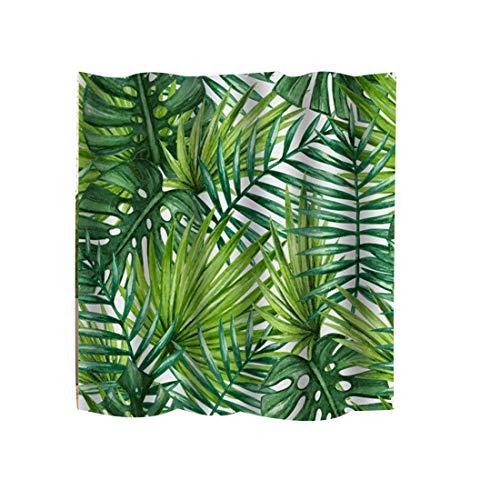 Pinji Duschvorhang Wasserabweisender Stoff-Duschvorhang Dschungel Tropischer Betriebs duschvorhang mit 12 Duschvorhangringen Digitaldruck Grüne Pflanze 180 * 180CM