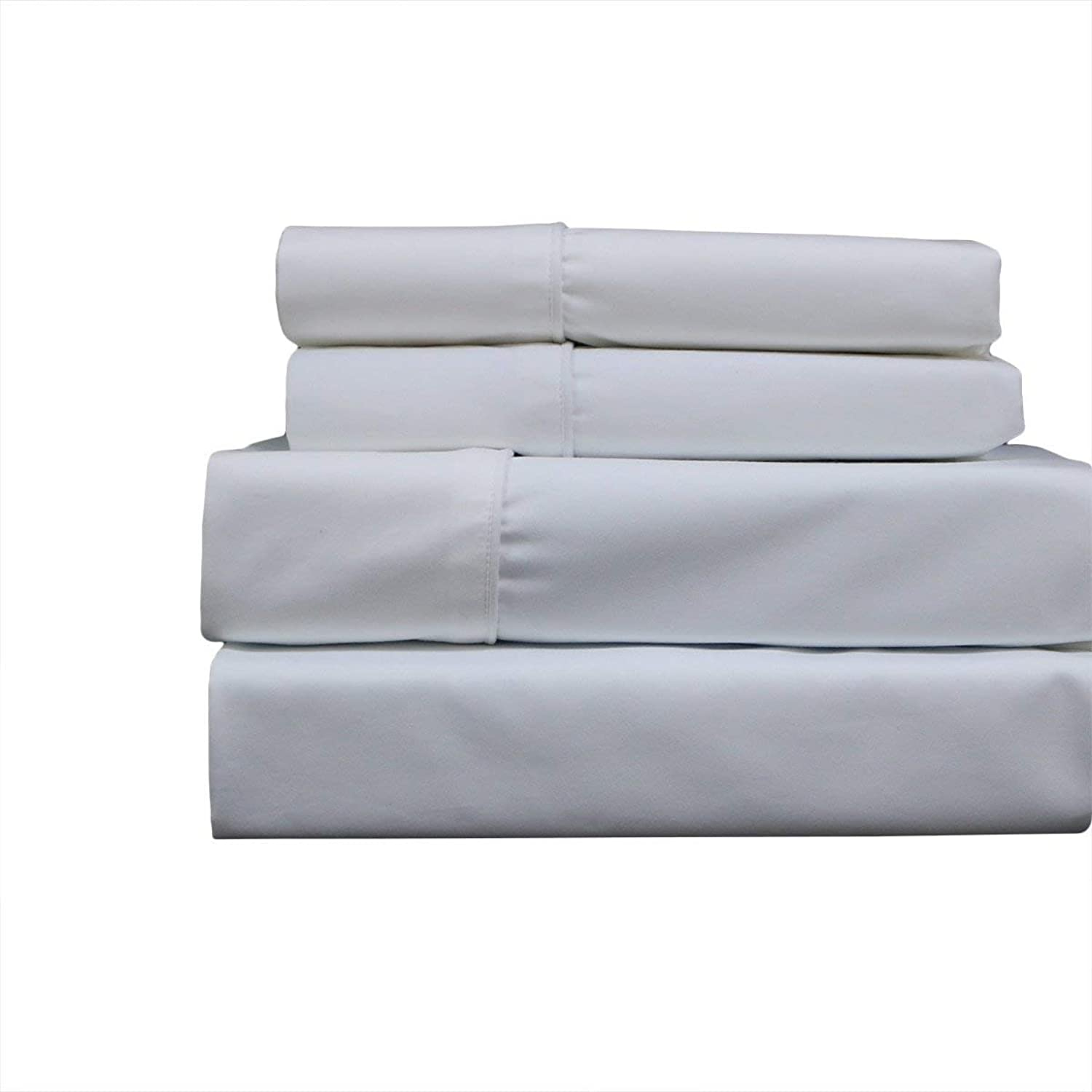 Sheetsnthings Bed Sheet Set, 650 Thread Count -California Queen, Solid White- Soft, Cotton Blend, 4PC Sheets