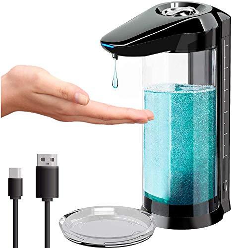 Distributore di sapone automatico, 650 ml, dispenser gel idroalcolico senza Touchless con sensore ricaricabile, dispenser sapone da parete, per cucina o bagno