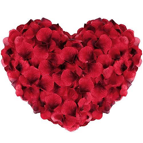 Vegena 3500 Stück Rosenblüten, Seide Rosenblätter Rosen Blätter Blüten Kunstblumen Seidenblumen für Romantische Atmosphäre und Hochzeit, Geburt, Taufe, Valentinstag, Geburtstag Party Dekoration (Rot)