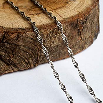 Solid 925 Sterling Silver Braided Rope Chain Necklace 2 mm Delicate Diamond Cut for Women Girls Exclusive Unique Design 18  - 45 cm