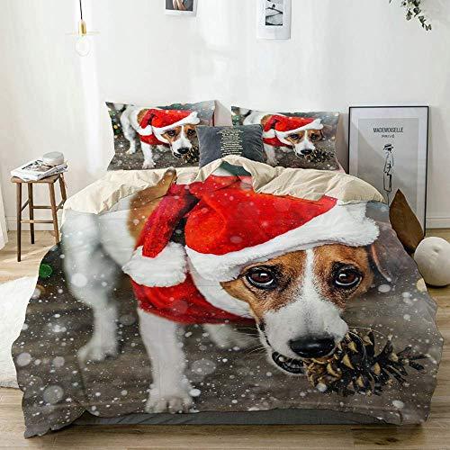 Funda nrdica Beige, pequeo Perro Adorable Jack Russel Terrier con Disfraz Rojo de Pap Noel, Juego de Cama de Microfibra Impresa de Calidad de 3 Piezas, diseo Moderno con suavidad y Comodidad