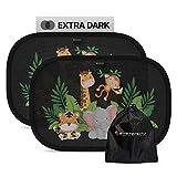 Systemoto Parasol para coche para bebés, extra oscuro, certificado de protección UV, juego de 2 parasoles autoadhesivos para niños (Wildlife)