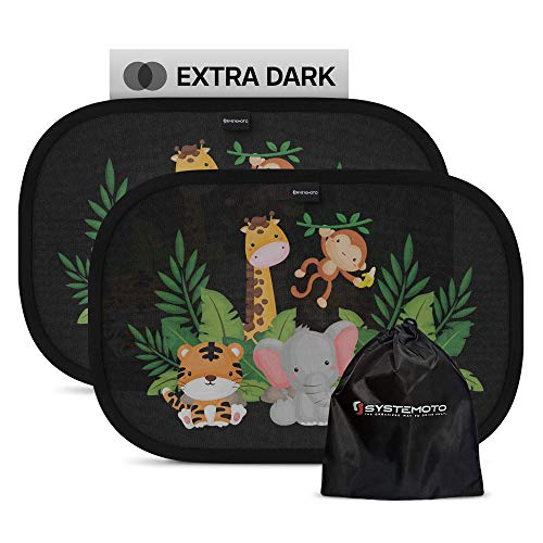 Systemoto Parasole Auto per bambini - Extra scuro con protezione UV certificata - Set di 2 Tendine Parasole autoadesivi per bambini (Wildlife)