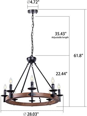 Wellmet 8 Lights Farmhouse Iron Chandeliers for Dining Rooms 28 Inch, Wagon Wheel Chandelier Candle Style, Rustic Hanging Cei