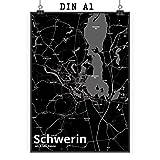Mr. & Mrs. Panda Poster DIN A1 Stadt Schwerin Stadt Black -