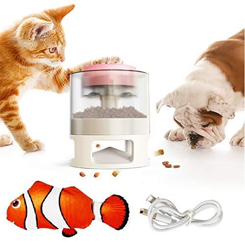 Juguete dispensador de golosinas para perros/Dispensador de alimentos/Juguetes interactivos/Con juguetes para gatos Fish Catnip, Bola de terapia IQ de comida lenta (Rosa + blanco)