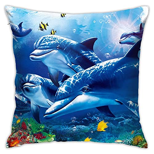 Marine Life Blue Sea World Coral Dolphin Throw Pillow Covers Cozy Square Pillowcase Printed Decorative Cushion Cover for Couch/Sofa/Home 18'x18' Pillow Cases