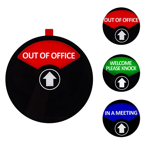 Kichwit Privacy Sign, in a Meeting Sign, Out of Office Sign, Welcome Please Knock Sign, Office Sign, Conference Sign for Offices, 5 Inch, Black