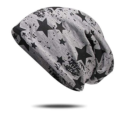Lanly Beanie Slouch Mütze Kopfbekleidung Leicht Jersey Mütze Docker Cap Einstellbar Unisex Herren Damen Baumwolle (Hellgrau Stern)