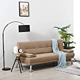 Wellgarden 3 Seater Sofa Bed Sleeper Sofa Couch Fabric Sofabed Modern Design Sofa Single Bed with Chrome Leg New Brown