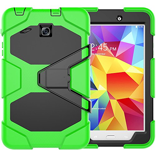BAUBEY Case for Samsung Galaxy Tab E 8.0, Shockproof Rugged Armor Full-Body Protective Case Cover Stand with Built-in Screen Protector for Galaxy Tab E 8' SM-T377 /SM-T377A /SM-T377P /SM-T377V, Green