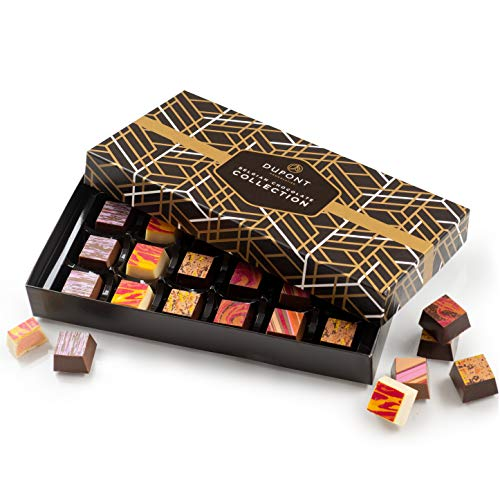 chocolats et truffes belgique - Cadeau Noël ballotin chocolat assortiment Dupont chocolatier.chocolat cadeau Chocolat blanc chocolate noir. pralines, ganache cadeau d'anniversaire chocolat bonbon