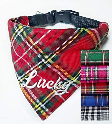 Hundehalstuch als Halsband Verstellbar optional mit Wunsch Namen bestickt Schotten Karo Halstuch Tuch