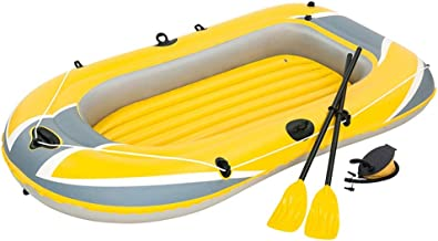 Jenghfnifer Kayak Inflable Bote de Cuero for Kayak Bote Inflable de Triple Espesor Aerodeslizador Bote de Asalto Inflable Doble/Amarillo (Color : Yellow, Size : 228x121cm)