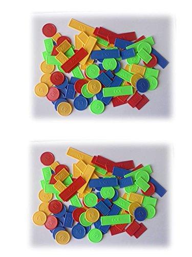 Lot de 200 jetons pour poker, tarot, belote, nain jaune,... : 2 boites de 100 jetons en plastique