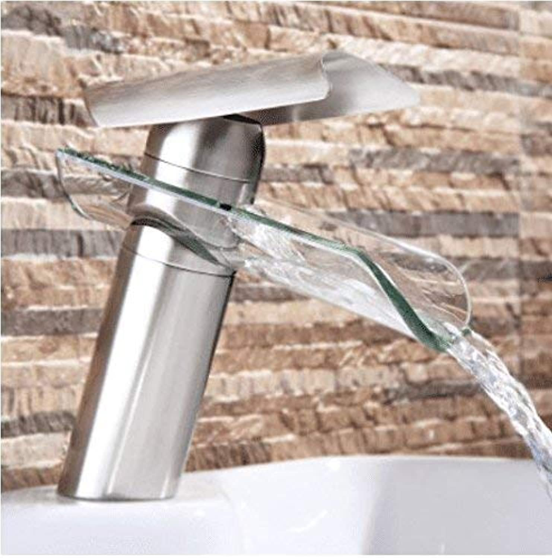 DOJOF Basin Sink Tap Bathroom Bar Faucet Glass Waterfall Hot and Cold Water Brass Bathroom Basin Sink Faucet