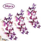 Farfalle 3d Parete, 36 Pezzi Magnetici Adesivi Murali 3d Farfalle Decorative da Parete, Adesivi Farfalle 3d per Casa Muro/ Parete Decorazioni (Viola)