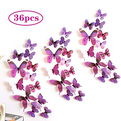 3d Schmetterlinge Deko, 36 Stück Lila Wandsticker Schmetterling, Kunststoff Schmetterlinge Deko Aufkleber Für Die Für Zimmer Dekoration, Wand und Balkon Deko(Magnetisch un Klebepunkten)