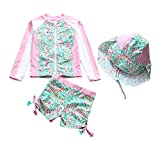TAIYCYXGAN Baby Toddler Girls Long Sleeve Swimsuit Kids Two Pieces Rash Guard Sunsuit with Hat UPF 50+ UV Green 3-4T