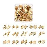 Cheriswelry Juego de 30 pendientes de acero inoxidable con forma de mariposa de seguridad, 15 estilos con cierre de mariposa, para joyas, regalos