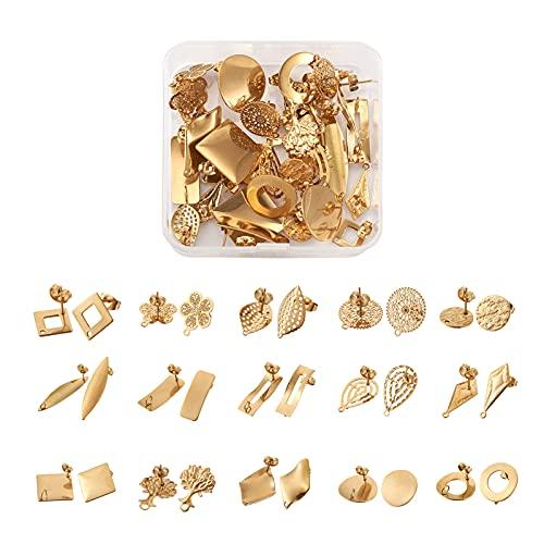 Cheriswelry Juego de 30 pendientes de acero inoxidable con forma de mariposa de seguridad, 15...