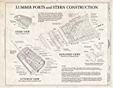 Historic Pictoric : Blueprint Lumber Ports and Stern Construction - Schooner C.A. Thayer, Hyde Street Pier, San Francisco, San Francisco County, CA 14in x 11in
