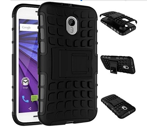 SDO Rigid Dual Layer Kickstand Hybrid Warrior Case Back Cover for Moto G 3rd Generation (Moto G3) / Moto G Turbo Edition - Black with Clear Screen Guard