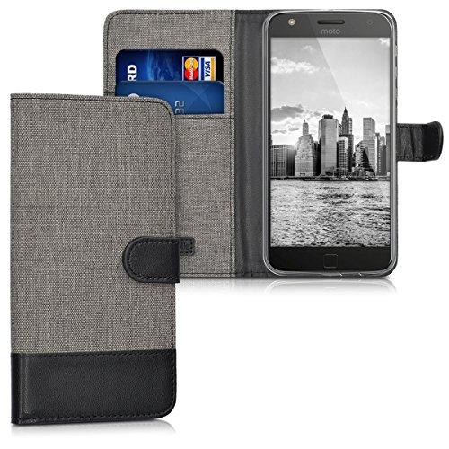 kwmobile Motorola Moto Z Play Hülle - Kunstleder Wallet Case für Motorola Moto Z Play mit Kartenfächern & Stand - Grau Schwarz