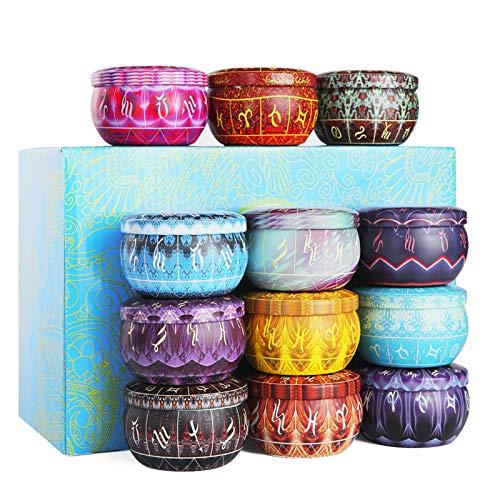 12 Regalo de Cumpleaños Velas Perfumadas 100% Cera de Soja Natural Vela Aromaticas para Baño, Yoga, SPA, para Festival y Bodas Aromaterapia Velas Decoración Regalo(12pack)