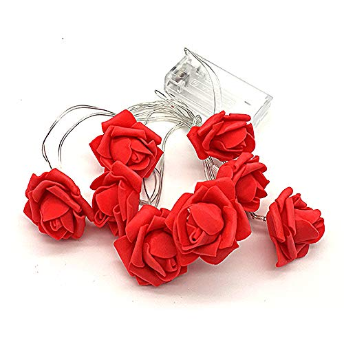 Red Rose Fairy String Lights – Battery Operated – Decorative – 8 Flowers LED Lights – Valentine's Day Decoration – Love is in The AIR