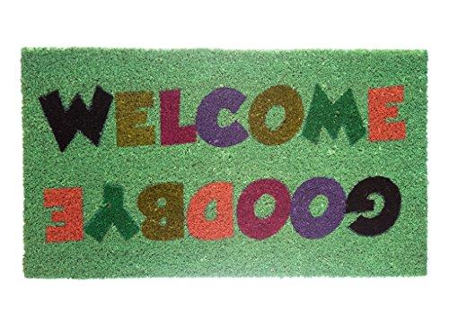 Fisura Felpudo diseño Welcome Goodbye, Fondo, Multicolor/Menta