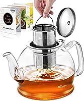 teiera, teiera vetro con infusore per tisane, stntus teiere in vetro borosilicato da 1200ml per tè sfuso e tè in fiore, infusiera vetro con filtri, microonde sicuro (1200ml)