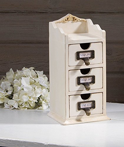 Antique White Tabletop Miniature Keepsake Cabinet with Drawers