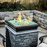 BBQGUYS Signature Series Lavelle 18-Inch Square Low-Rise Propane Column Fire Bowl - Oil Rubbed Bronze (Ships as Natural Gas w/Conversion Kit)