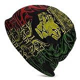 Bandera Africana El León de Judá Rasta Rastafari Sombrero de Punto para Hombres Mujeres Sombreros de Punto cálidos elásticos Gorra de Calavera portátil al Aire Libre