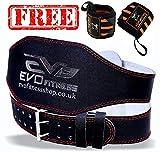 EVO Fitness 10.2cm Vera Pelle Palestra Cinture Sollevamento Pesi Fascia Supporto Schiena Avvolgenti per Bodybuilding - Nero, Large