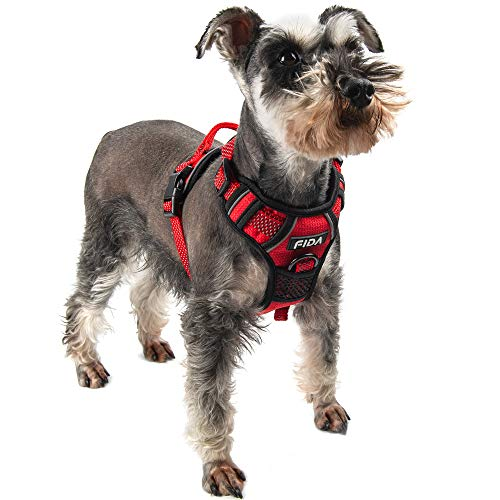 Fida Dog Harness Full Reflective Design, No-Pull Pet Vest Harness with 2 Leash Clips, Adjustable Soft Padded with Easy Control Handle for Small Dogs(S, Red)