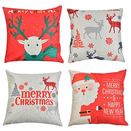 4 fundas de almohada navideñas, de algodón y lino decorativas, de Navidad,...