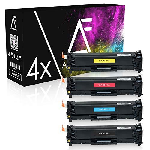 4 Alphafax Toner kompatibel mit HP Laserjet Pro 300 400 Color M351 M451 M475 MFP M375 DN NW DW - CE410X CE411A CE412A CE413A 305A - Schwarz 4.000 Seiten Color je 2.600 Seiten