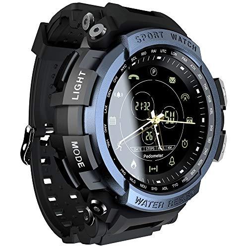 ZwbfuLOKMAT MK28 Reloj Inteligente Pantalla de 1.14 Pulgadas BT4.0 Vida Calorías podómetro a Prueba de Agua Alarma Deportes Hombre Smartwatch para Android 6.0 / iOS 7.0 y Superior