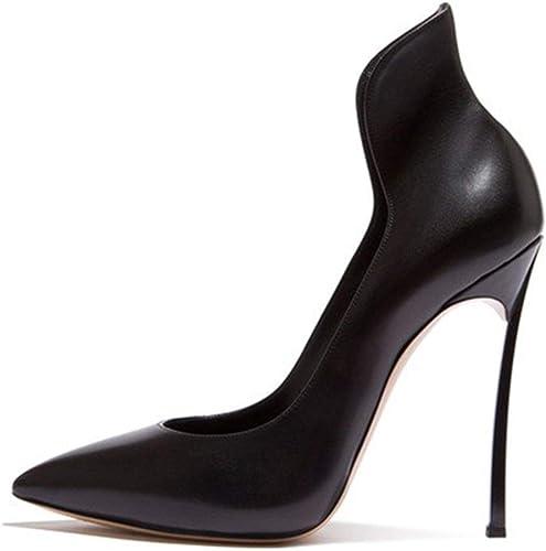 ZerenQ Escarpins Noirs pour Femmes Glissent sur des Sandales Formelles Stiletto a souligné Le Cuir véritable supérieur Haut arrière antidérapant Semelles en Caoutchouc 10cm à Talons Durable