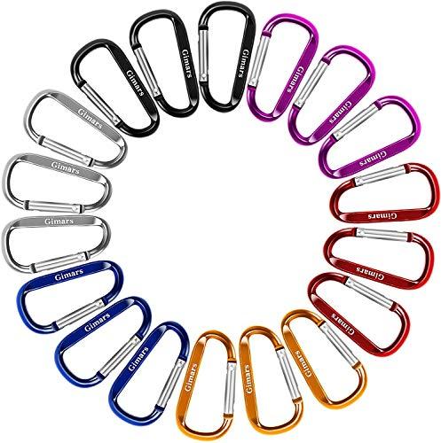 Gimars 18 pcs 6 cm mini Karabiner Schlüsselanhänger, Karabinerhaken Alu klein Schlüssel Karabiner für Camping, Angeln, Wandern oder Reisen